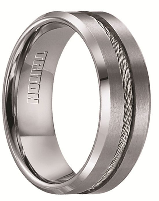 Larson Jewelers CURTIS Tungsten Wedding Band with Steel Cable Inlay by Triton Rings - 8 mm Wedding Ring - The Knot