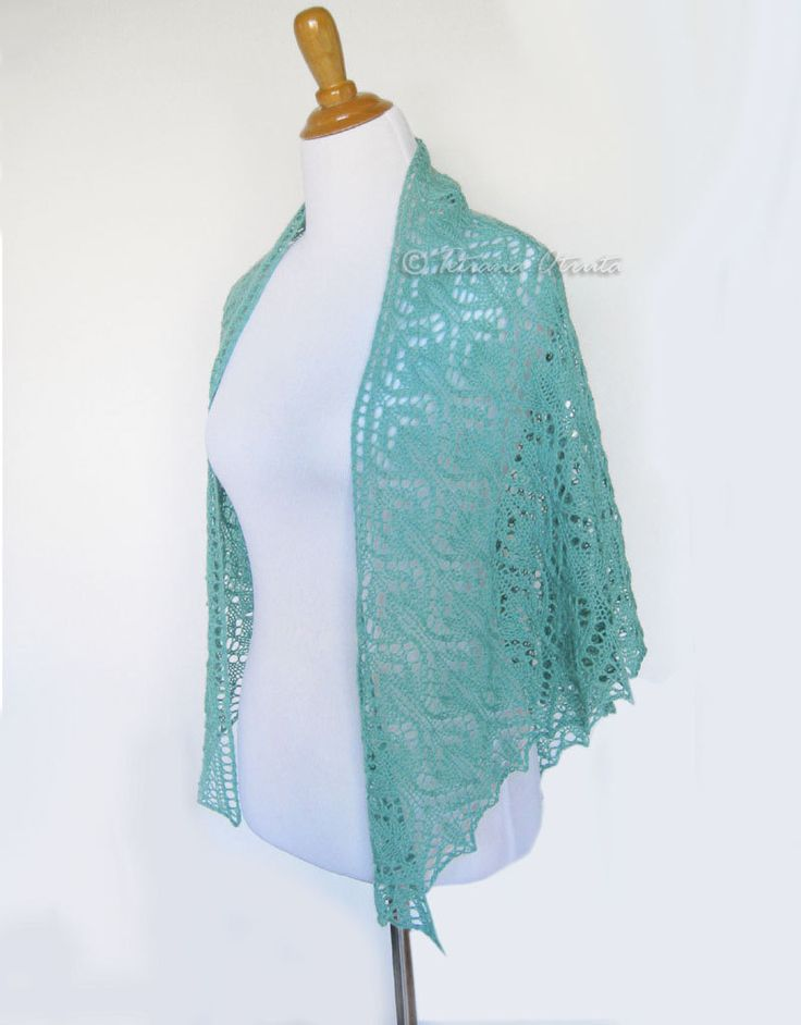 Mint lace shawl bridal hand knit wrap wedding cover up wool lace scarf floral pattern by Otruta on Etsy