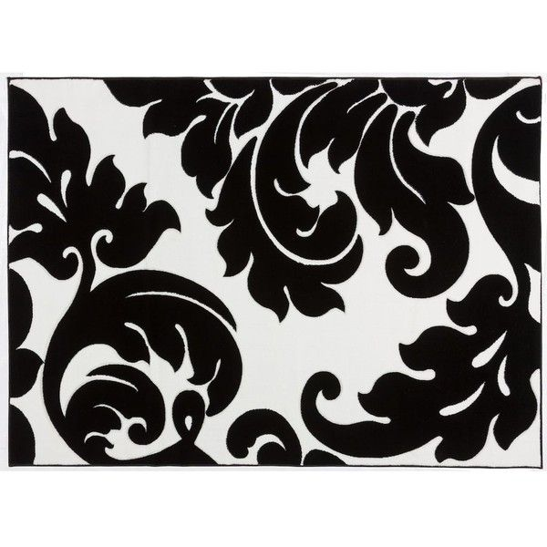 Infinity Home Melody Vines Damask Rug ($324) ❤ liked on Polyvore featuring home, rugs, home decor, black, hand carved rugs, black and white damask rug, black and white rugs, patterned area rugs and black and white area rugs