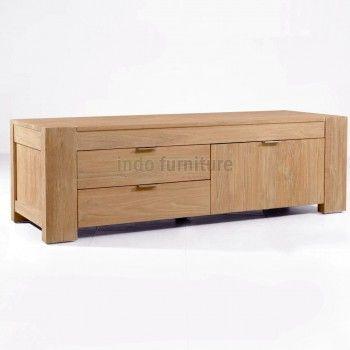 Buffet TV Jati Minimalis dilengkapi 2 Laci dan 1 lemari dengan desain dan kompak antara laci dan lemari. Cocok untuk Anda pajang di ruang kaluarga atau di ruang tamu.