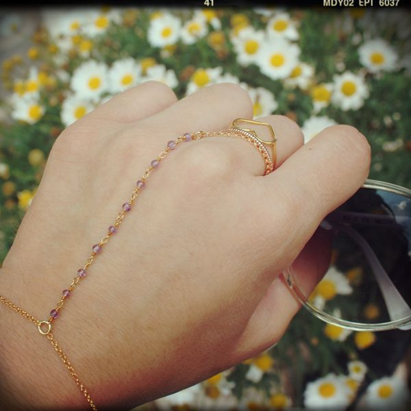 "Blogger ""Life full of Fashion"" or Miss Chic from missbloom.gr wearing ring-bracelet rozary - Fishbone design Jwls"