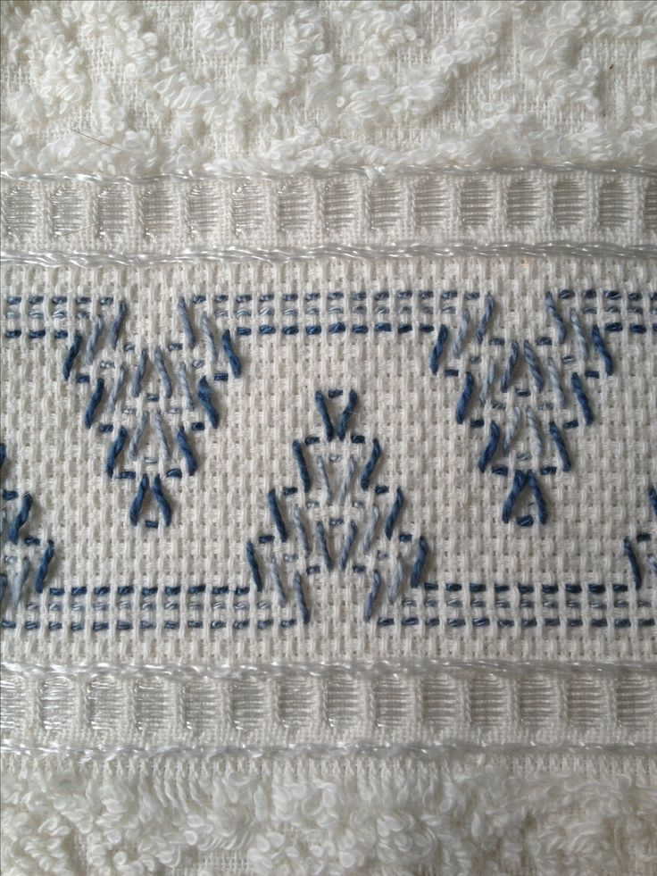 Swedish Huck embroidery on a hand towel.