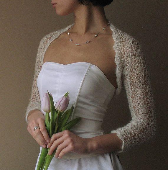 BRIDAL SHRUG wedding lace bolero light as a cloud by WhiteFashion, $80.00