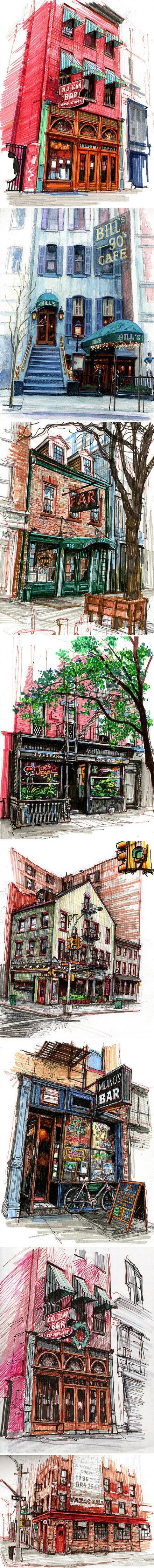 Beautiful urban sketches