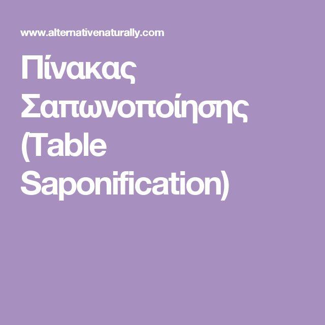 Πίνακας Σαπωνοποίησης (Table Saponification)