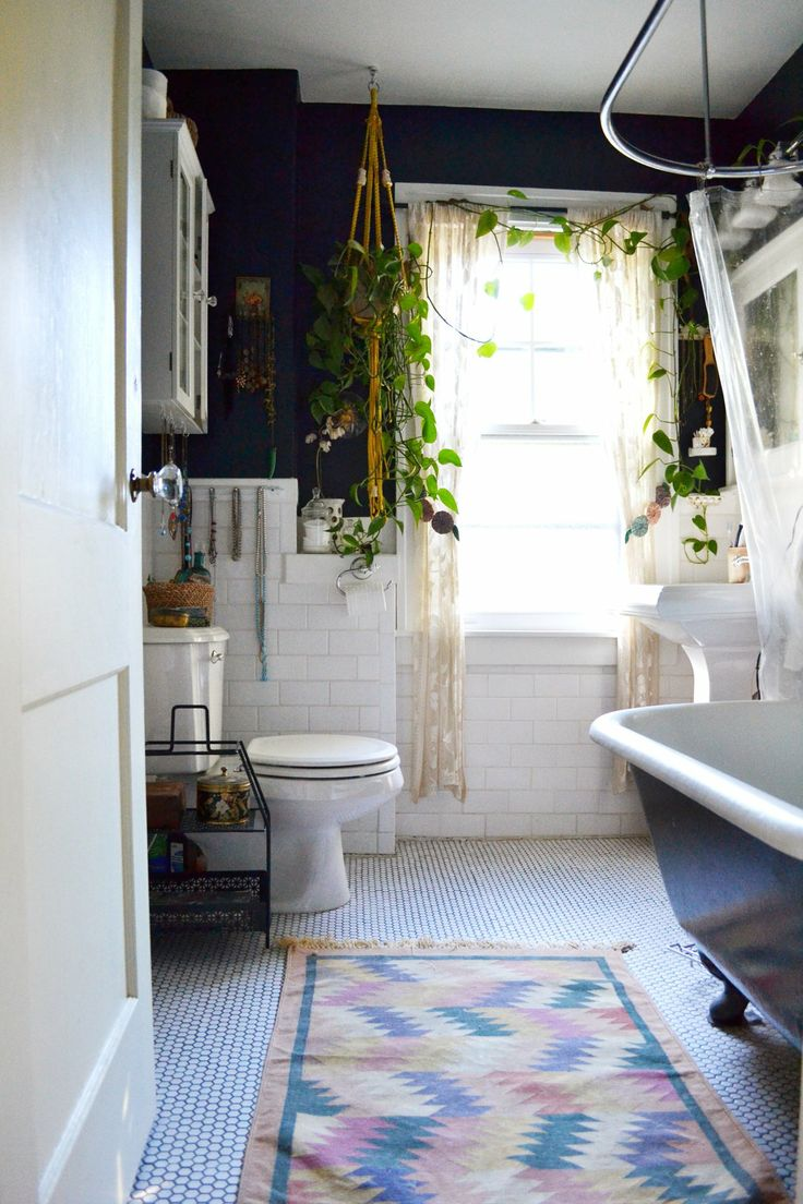Beautiful bathroom, love the walls and rug - Apartment Therapy - Lauren and Chad's Vintage Comfort