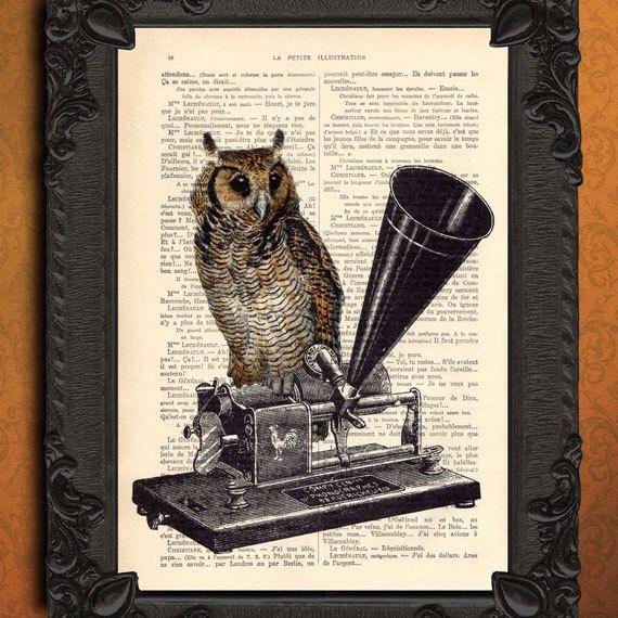 uil decoratie, uil met antieke fonograaf illustratie, oehoe op grammofoon door MadameMemento op Etsy https://www.etsy.com/nl/listing/130207926/uil-decoratie-uil-met-antieke-fonograaf