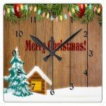 Merry Christmas String of Lights Winter Wonderland Square Wall Clock  #Christmas #Clock #Lights #Merry #RusticClock #Square #String #Wall #winter. #Wonderland The Rustic Clock