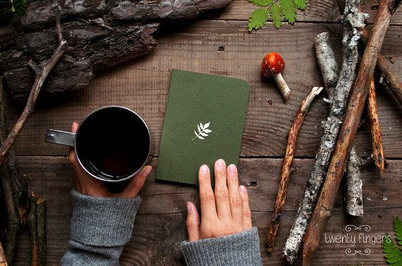 Forest notebook with a carved pattern  Leaf small size