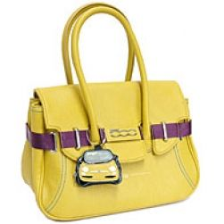 FIAT 500 Italian EcoLeather Ladies Handbag - Borsa - Yellow (Large Size)