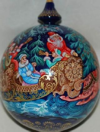 Russian Christmas Troika - Lacquer painted Kholui style ornament