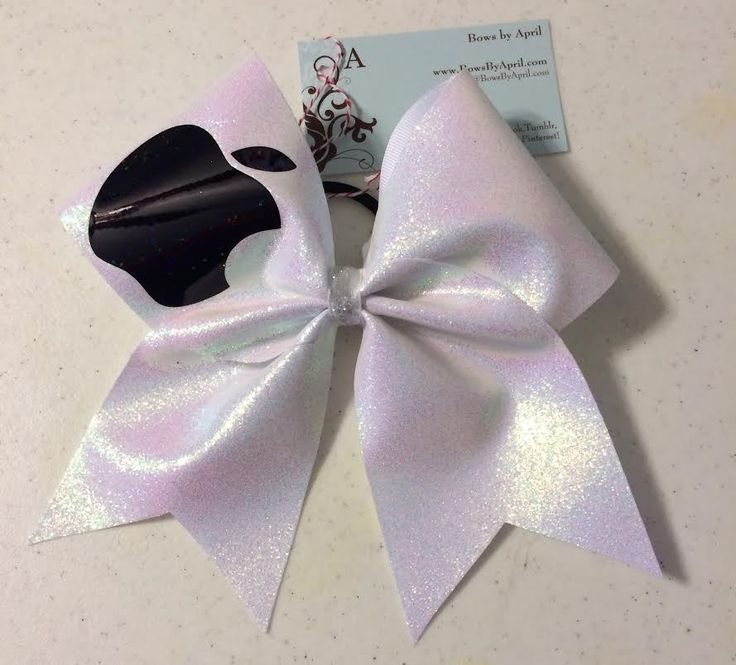 Bows By April Express - White Glitter Apple Cheer Bow, $15.00 (http://www.bowsbyaprilexpress.com/white-glitter-apple-cheer-bow/)