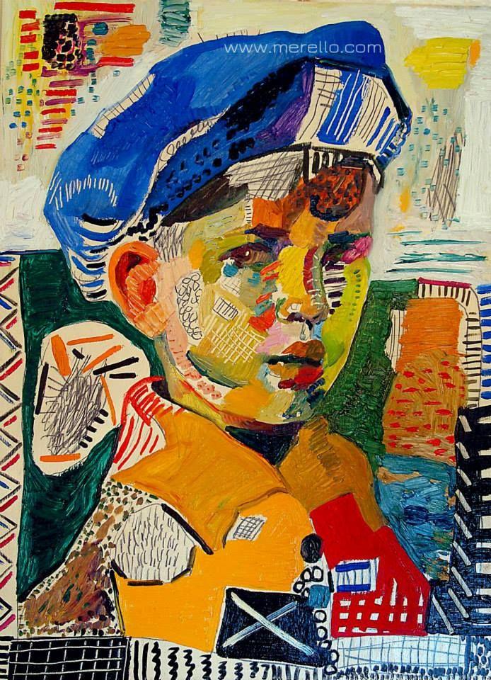 """José Manuel Merello.- """"Blue beret."""" HEDENDAAGSE KUNST. Moderne schilderkunst. Hedendaagse Spaanse schilders. Artiesten XXI-21 de eeuw. Amsterdam, Madrid, Parijs, kunst, luxe en decoratie. ACTUELE KUNST. Modern Art. http://www.merello.com"""