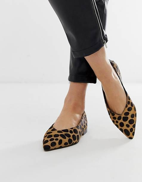 27fe4b70a6f ASOS DESIGN Leanne leather high vamp slingback ballet flats in leopard