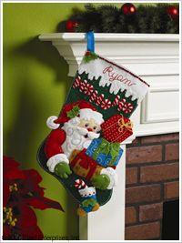 Bucilla ® Seasonal - Felt - Stocking Kits - Ho Ho Ho Santa. #bucilla #stockings #christmas #plaidcrafts