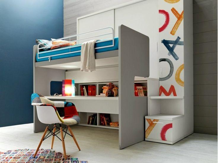 bureau mezzanine design chaise idée déco mur lit superposé