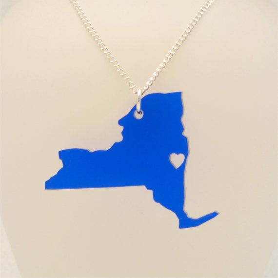 161 best nyc curated images on pinterest new york city nyc and new york state state necklace wood or acrylic handmade going away gift long distance negle Gallery