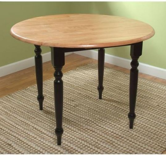 Dining Table Round Drop Leaf Black Natural Solid Rubber Wood Turned Legs Elegant #DiningTable  CPCF Global