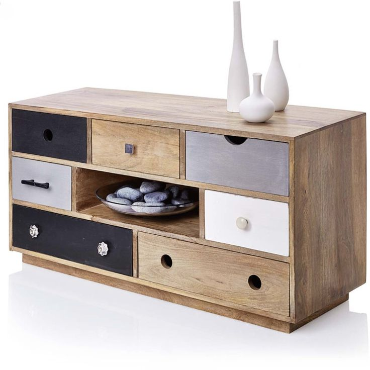 Wooden TV Cabinet With Eclectic Drawers