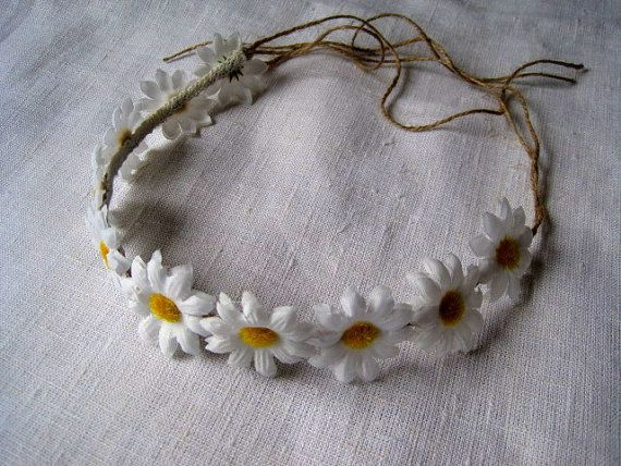 White Daisy Hair Crown bridal flower head piece Summer festival wedding hair piece hippie women headband ,wedding floral garland accessories on Etsy, $19.25