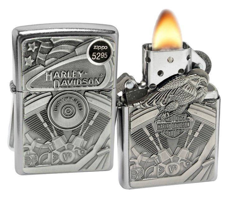 Zippo 29266 Harley Davidson Motor Flag Eagle Street Chrome Windproof Lighter New #Zippo