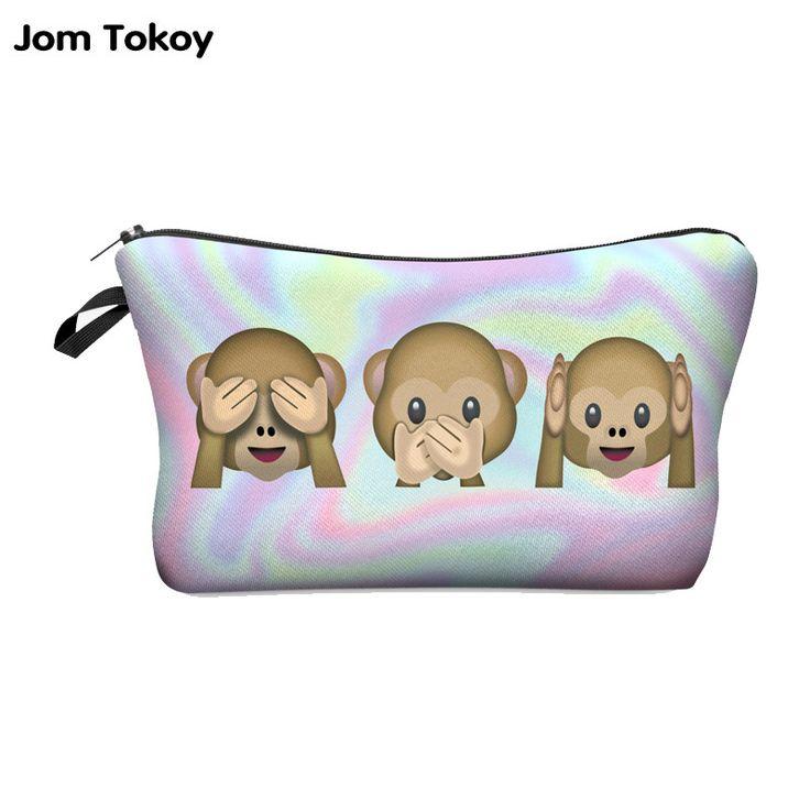 Jom Tokoy Fashion Brand Cosmetic Bags 2016 New Fashion 3D Printing Women Travel Makeup Case 709