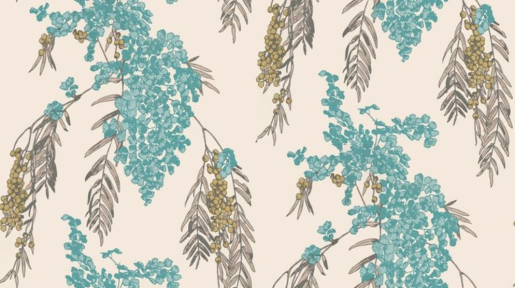 Fougere Lagoon (W355/04) - Romo Wallpapers - A beautiful large scale, boldly coloured flowering fern with soft neutral backgrounds. Printed on a wide width, non-woven ground for easy installation. Please request a sample for true colour match.