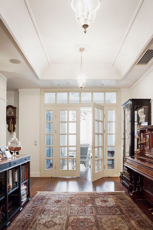 Family Room Remodel Interior French Doors With Transom