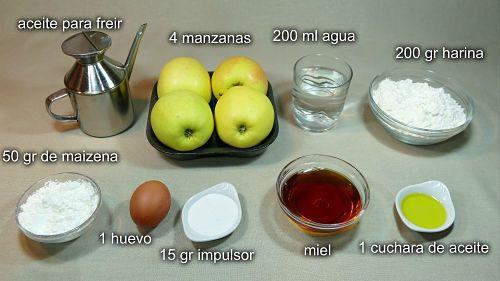 Ingredientes para las manzanas fritas a la miel