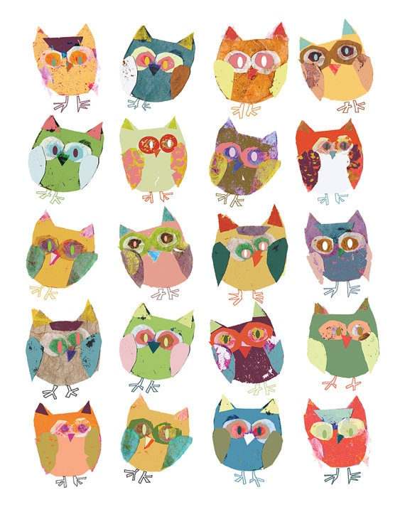 Owls decor quirky birds art print 8 x 10 print by OzscapeDesigns, $15.99