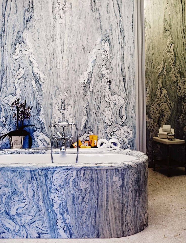 Very ostentatious, a blue swirled marble bathroom at the Gritti Palace Hotel in Venice.