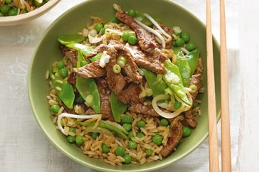 Vibrant snow peas add crunch to this tasty Chinese-style stir-fry.