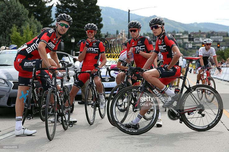BMC Racing team members Taylor Phinney of the United States, Manuel Senni of Itlay, Rohan Dennis of Australia and Kilian Frankiny of Switzerland await the start of stage one of the 2015 USA Pro Challenge on August 17, 2015 in Steamboat Springs, Colorado.