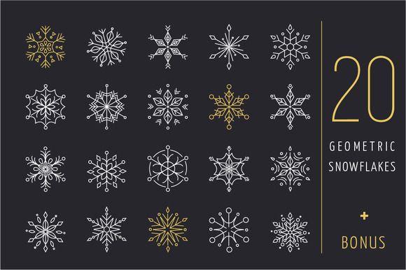 20 geometric snowflakes icons set by Marish on @creativemarket