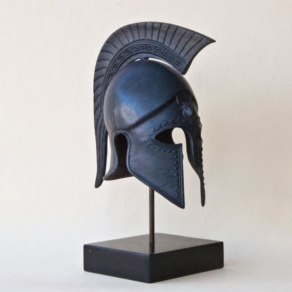 Metal Helmet with Greek Key Crest Ancient Greek by GreekMythos