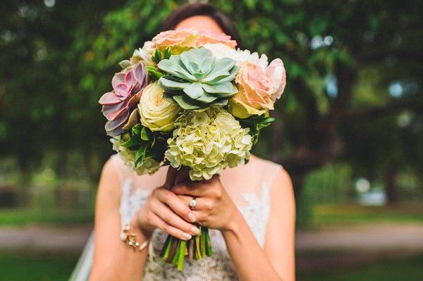 Succulents, roses, and hydrangeas in this pretty pastel bouquet | Photo by Janet Moscarello Photography via http://junebugweddings.com/wedding-blog/what-junebug-loves/classic-wedding-union-club-boston/