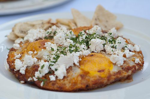 Close up of gingko shakshuka breakfast dish