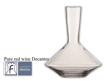 Pure Decanter 750 ml 25.3(oz) 10.7(H) 8.7(W)  Tritan crystal glass: non-lead material of titanium and zirconium oxide; resists breakage, chipping, scratching; thermal shock resistant; patented Red wine aerates as it flows down the sides in a beautiful pattern;  DISHWASHER SAFE will not etch, cloud or discolor for the life of the glass Made in Germany Product Code 0019.113745 SHIPPING IN CANADA ONLY!