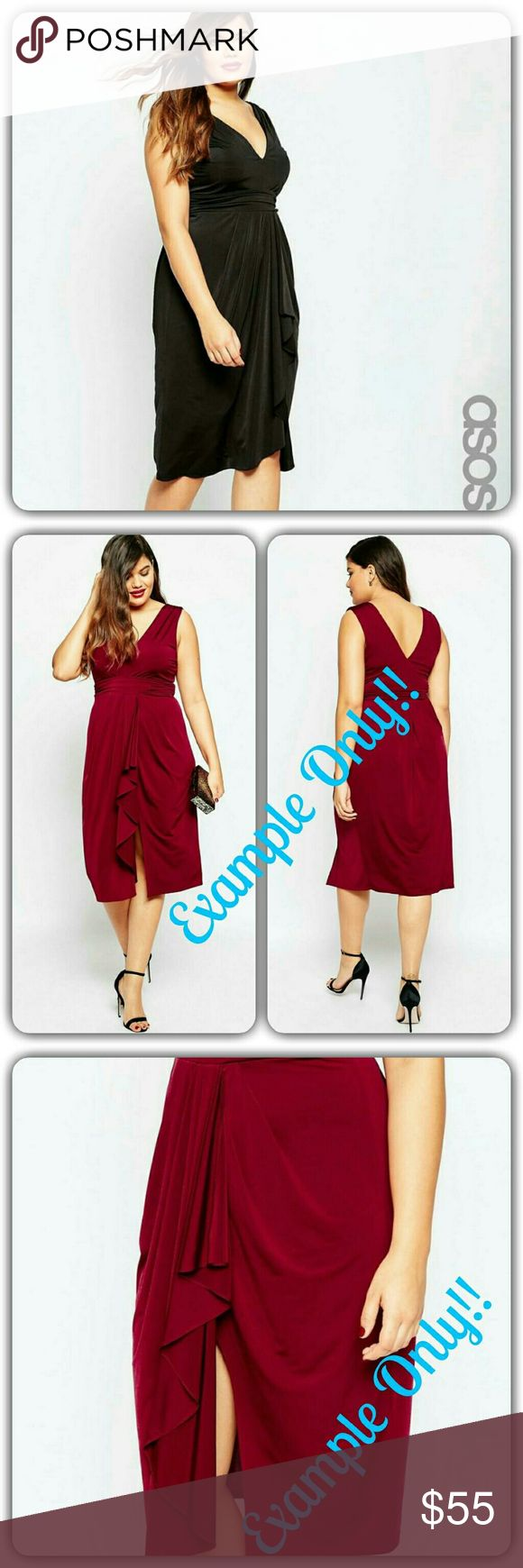 ASOS CURVE Drape Front Midi Dress uk 18 us 14 PLUS-SIZE DRESS?BY?ASOS CURVE Slinky stretch fabric Lightweight design V-neckline Empire waist Draping to front Thigh split Regular fit ?-true to size Machine wash 96% Polyester, 4% Elastane model wears a UK 18/EU 46/US 14 and is?180 cm/5'11??tall  ABOUT ME  Lining: 100% Polyester, Main: 96% Polyester, 4% Elastane.  SIZE & FIT  Model wears: UK 18/ EU 46/ US 14 Model's height: 180 cm/5'11?  LOOK AFTER ME  Machine Wash According To Instructions On…