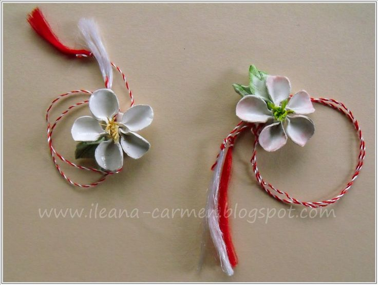 MIXED - Blooming Branches with White Flowers from Crepe Paper and Polymer Clay Spring Romanian Amulets from 1-st March.