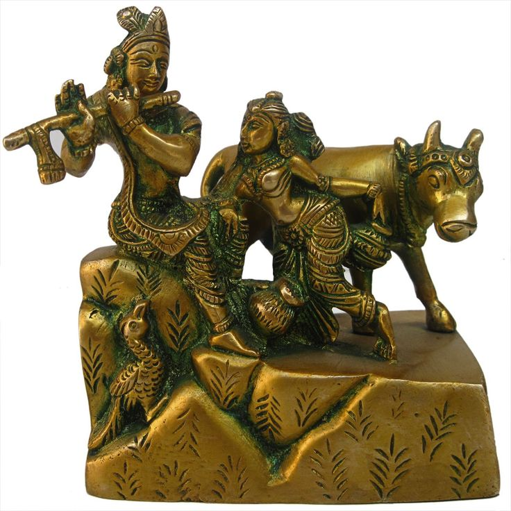Radha Krishna with Cow Sculpture Handmade Brass Statue from India: Amazon.co.uk: Kitchen & Home