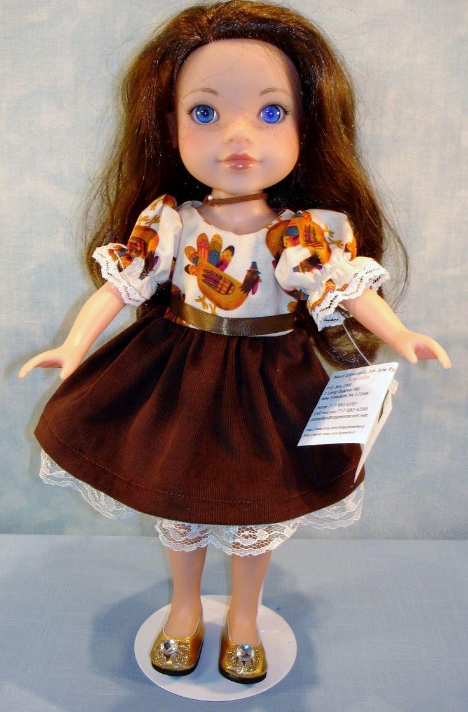 14 Inch Doll Clothes - Turkeys on Ivory/Brown Corduroy Thanksgiving Dress handmade by Jane Ellen by JaneEllen2 on Etsy