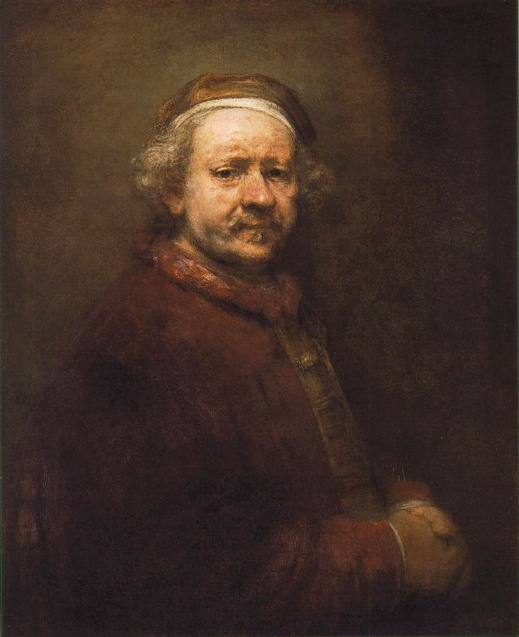 """""""The whole composition was a mass of thick shadow from which the face emerged like the sun"""" Roger Housden about Rembrandt 's Self - Portrait 1669, The year of his death , at National Gallery in London"""