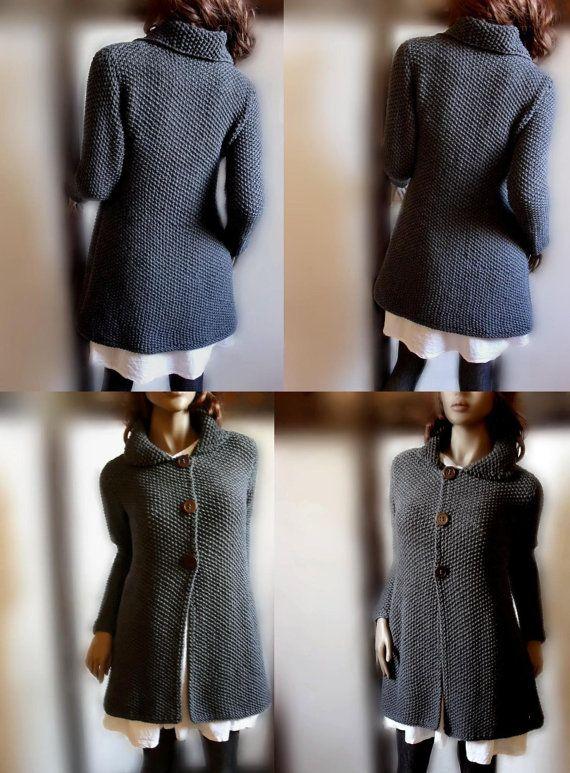 Womens hand knit sweater Merino wool long cardigan coat by Pilland