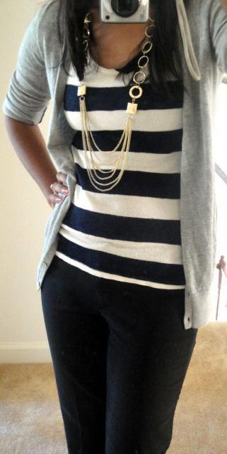 Business casual work outfit: grey cardigan, white and black striped top, black s…