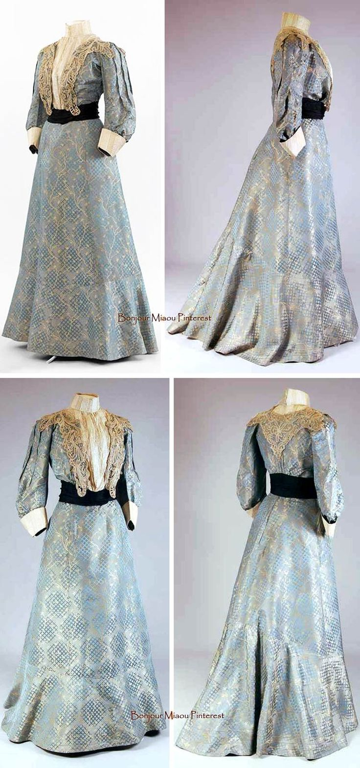 Afternoon dress, two pieces, of blue silk damask with woven diamond motifs in pale yellow. Imitation Valenciennes bobbin lace; belt. Bodice lined in beige cotton, skirt in blue silk. Mode Museum, Antwerp, via Europeana Fashion