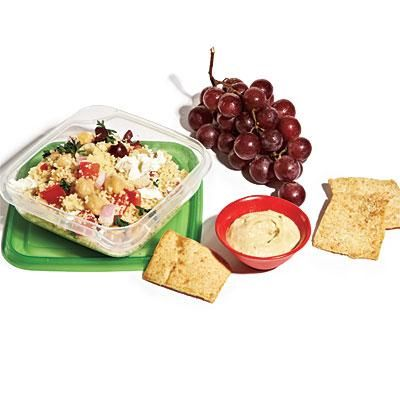Couscous Salad Lunch Box: CL Couscous Salad (3/4 cup) + 2 tablespoons hummus + 8 whole-wheat pita chips + 1 cup fresh grapes = 430 calories, 2.2g sat fat, 715mg sodium | CookingLight.com