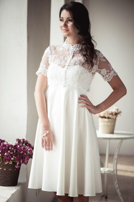 Empire silhouette short wedding dress with by ApilatCreativeAtelie, $435.00