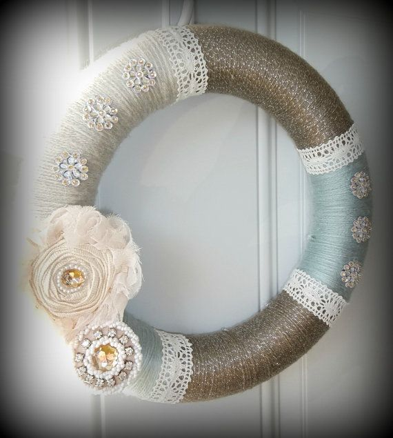 Shabby Chic Yarn Wreath with lace. Love this!!