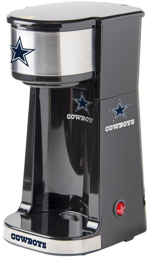 Caffeinate your game days with this single serve Dallas Cowboys coffee maker. Small size with One Touch operation switch with light indicator. Free Shipping - Visit SportsFansPlus.com for more details!